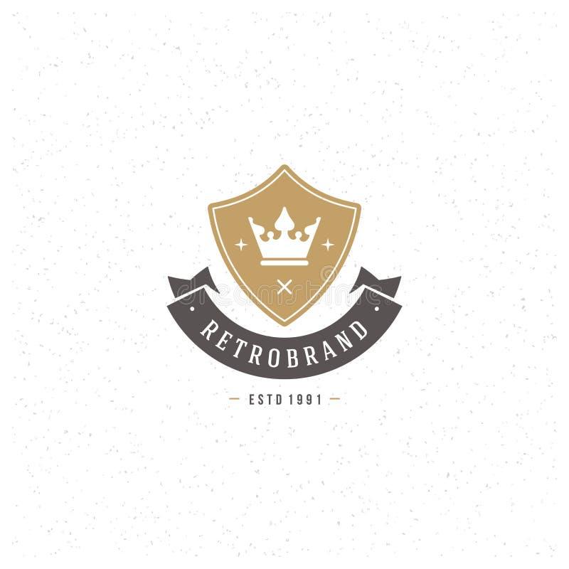 Re Crown Logo Template Stile d'annata dell'elemento di progettazione di vettore per il Logotype, etichetta, distintivo, emblema illustrazione vettoriale