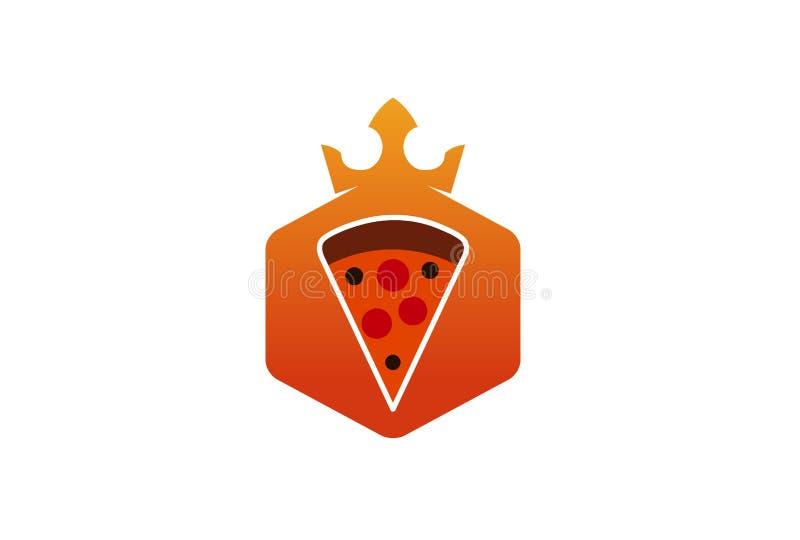 Re Crown Pizza Logo Design Illustration illustrazione vettoriale