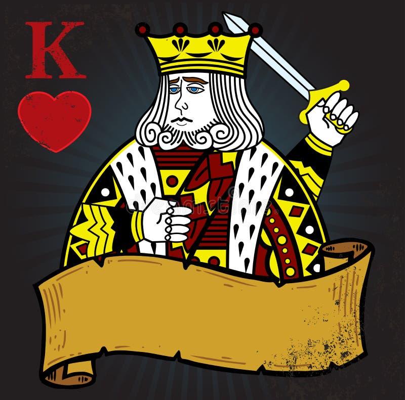 Re dei cuori con la bandiera illustrazione di stock