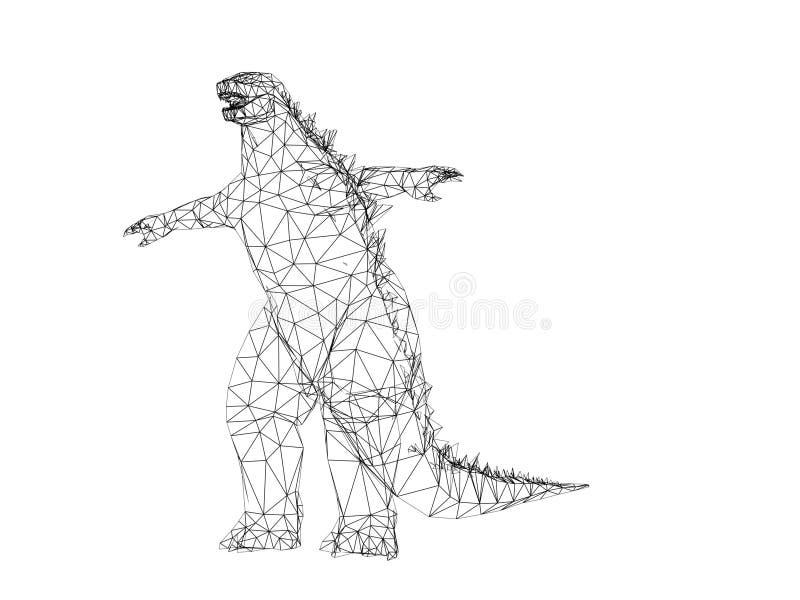 Re dei mostri, 3d di Godzilla royalty illustrazione gratis