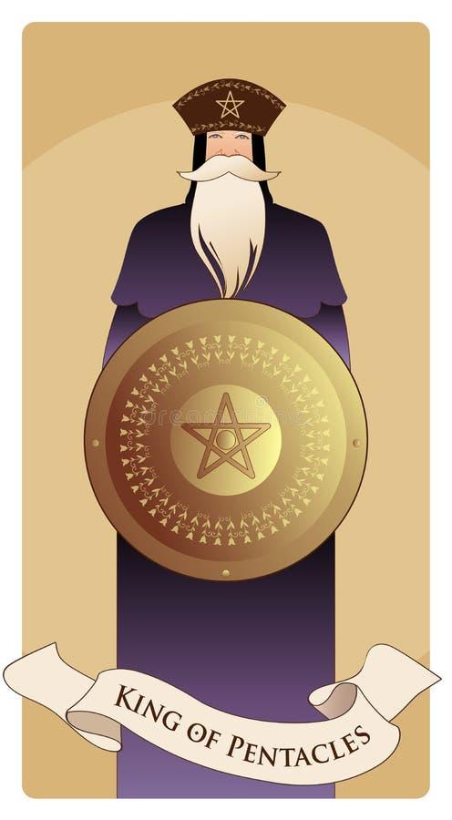 Re dei pentacoli con la corona e la barba lunga che tengono schermo dorato con il simbolo del pentacolo nel centro royalty illustrazione gratis