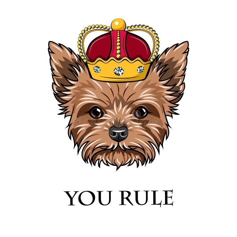 Re del cane di grifone crown Retro ritratto Razza del cane Vettore illustrazione vettoriale