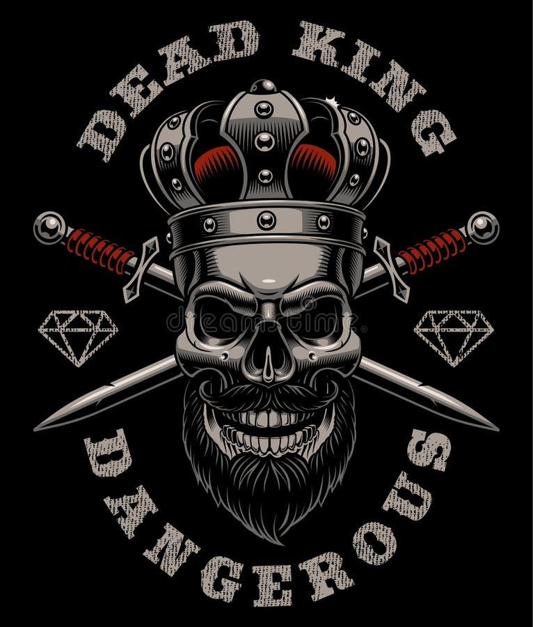 Re del cranio su fondo scuro royalty illustrazione gratis