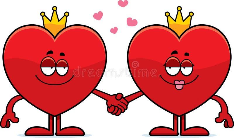 Re del fumetto e regina dei cuori royalty illustrazione gratis