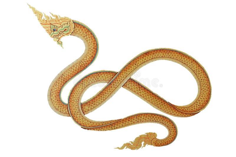 Re del Naga, drago tailandese, immagine sulla parete del tempio in Tailandia ha isolato su fondo bianco immagine stock