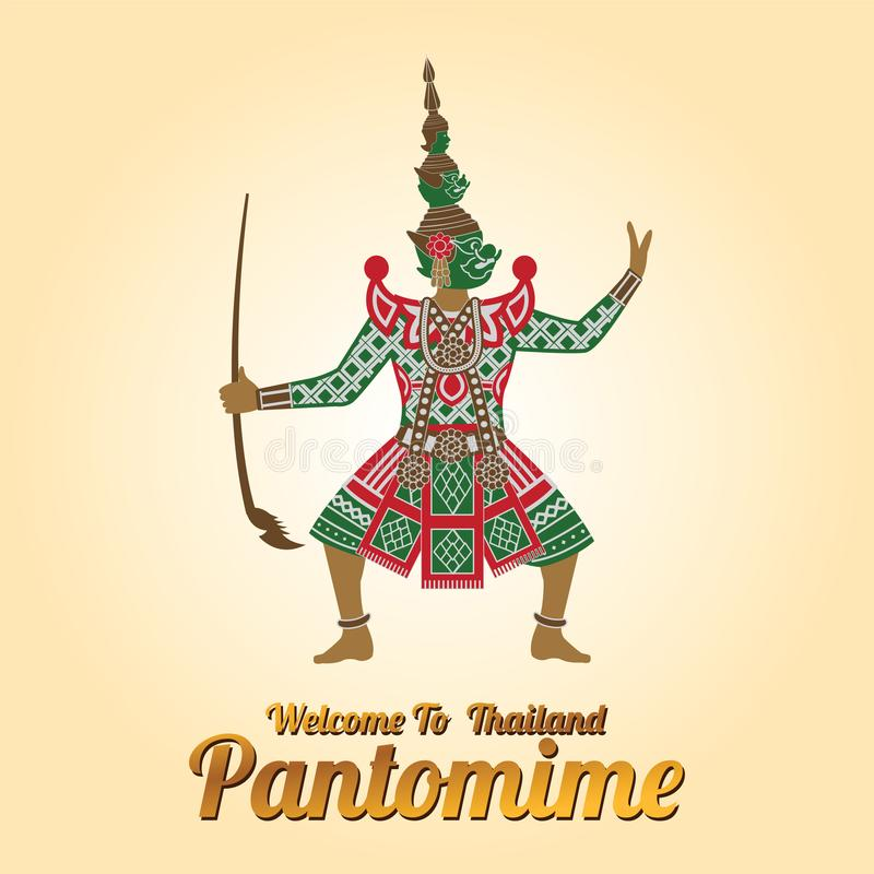 Re del supporto gigante davanti al cerchio rosso, carattere di Ramayana illustrazione vettoriale