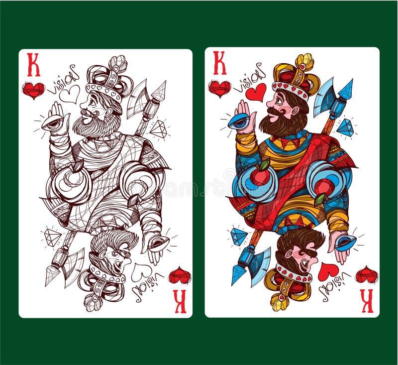 Re del vestito della carta da gioco dei cuori royalty illustrazione gratis