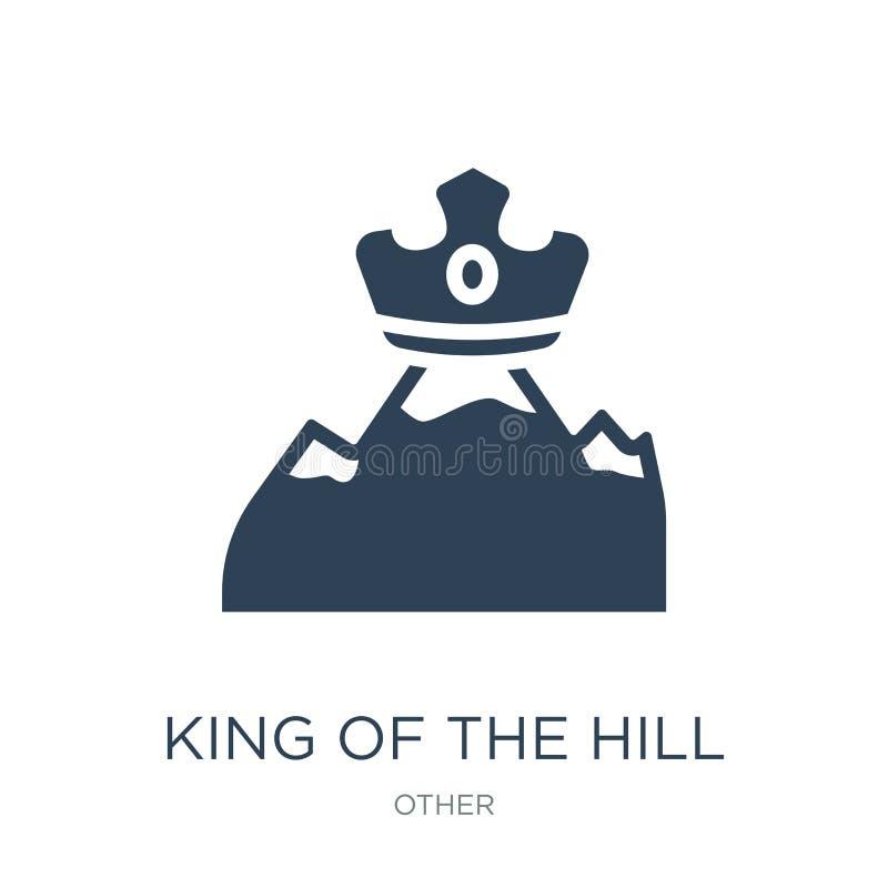 re dell'icona della collina nello stile d'avanguardia di progettazione re dell'icona della collina isolata su fondo bianco re del illustrazione vettoriale