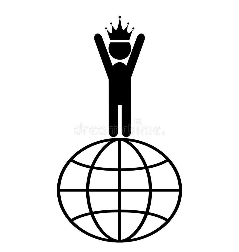 Re dell'isolato del pittogramma di People Flat Icons del capo di vittoria del mondo illustrazione vettoriale