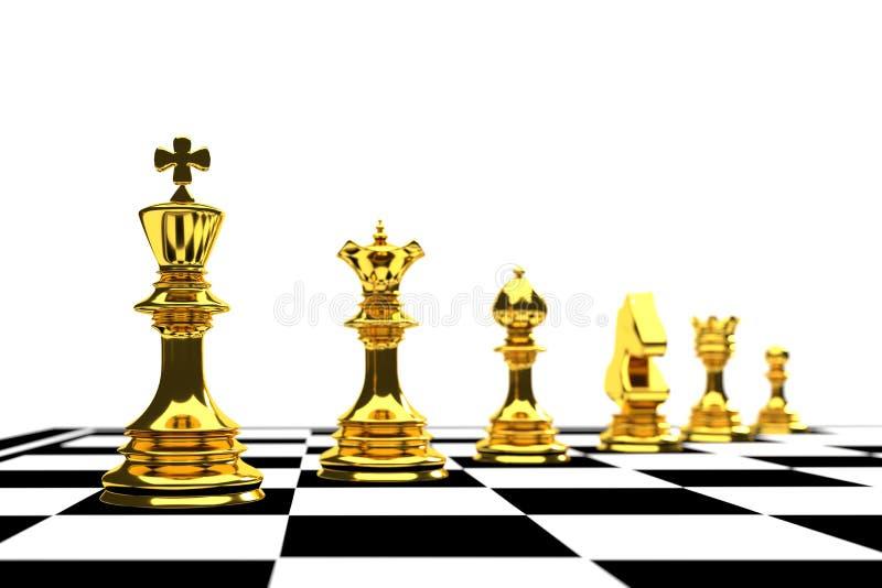 Re dell'oro nel gioco di scacchi con il gruppo sul concerto bianco di direzione del fondo illustrazione vettoriale