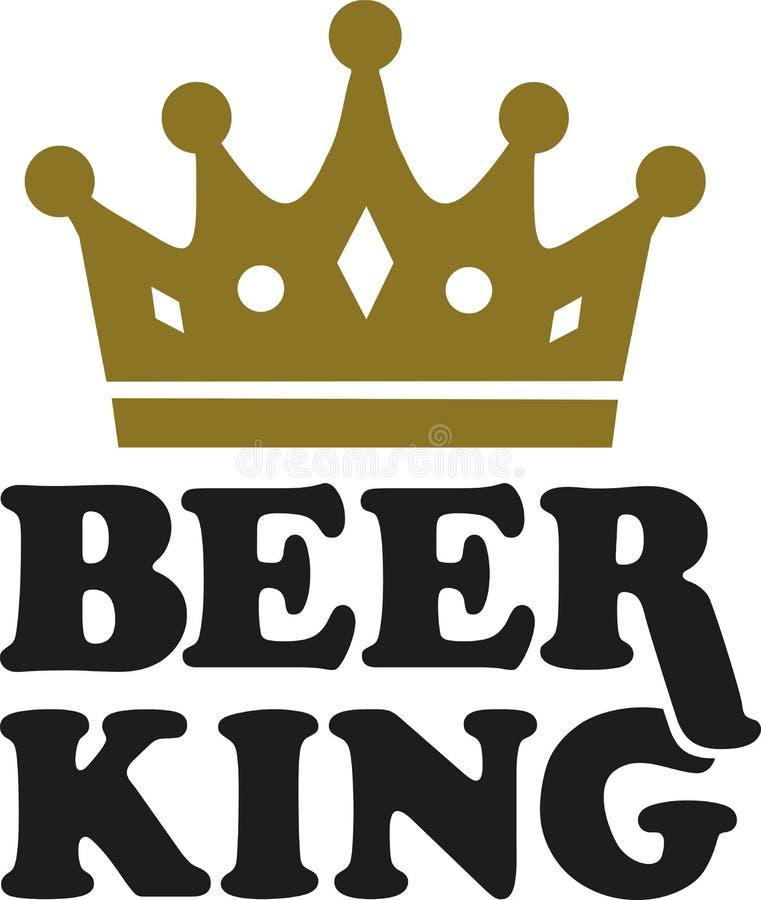 Re della birra con la corona illustrazione di stock