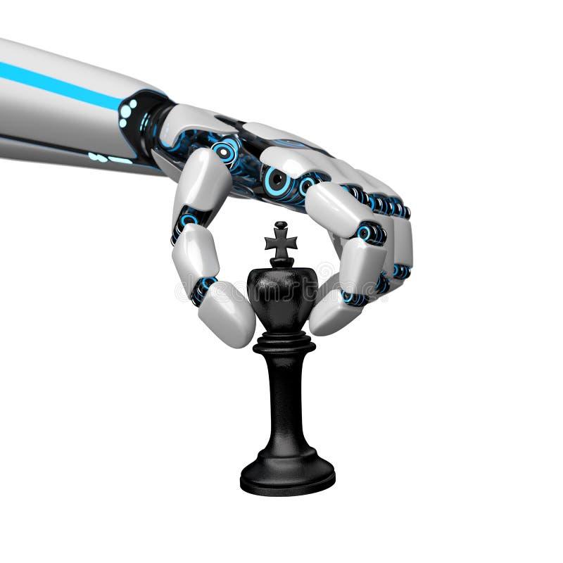 Re di scacchi della mano del robot di umanoide illustrazione vettoriale
