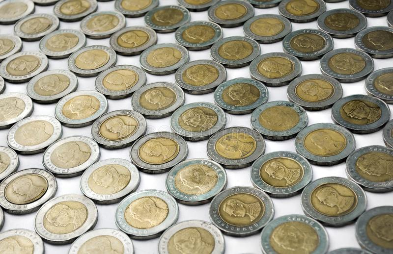 Re di tailandese in una moneta di dieci bagni, moneta di fondo tailandese fotografie stock