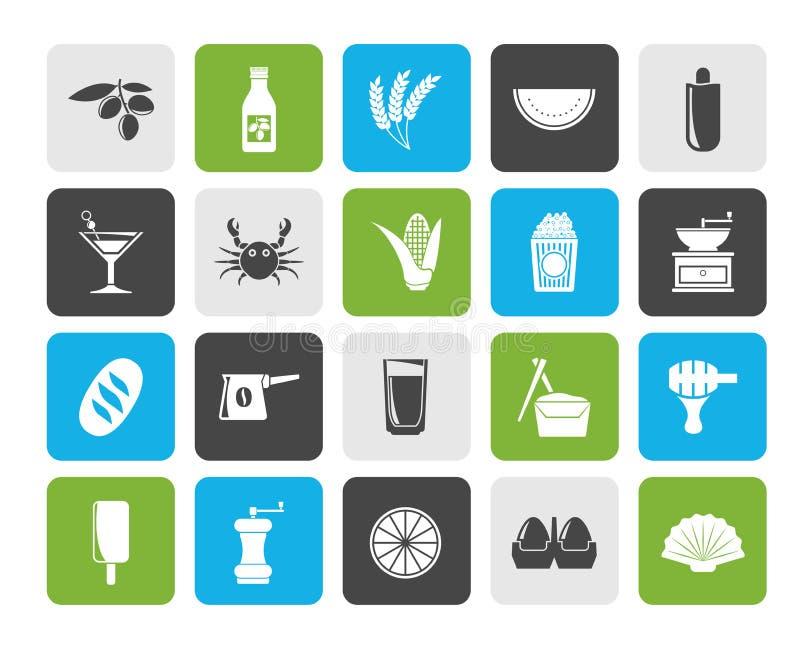 Re differente delle icone 3 delle bevande e dell'alimento illustrazione vettoriale