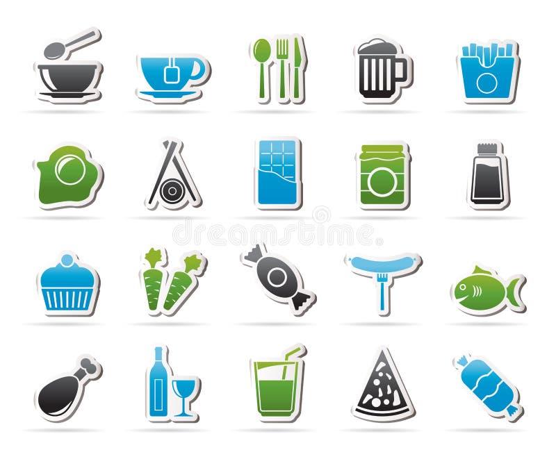 Re differente delle icone 1 delle bevande e dell'alimento illustrazione di stock