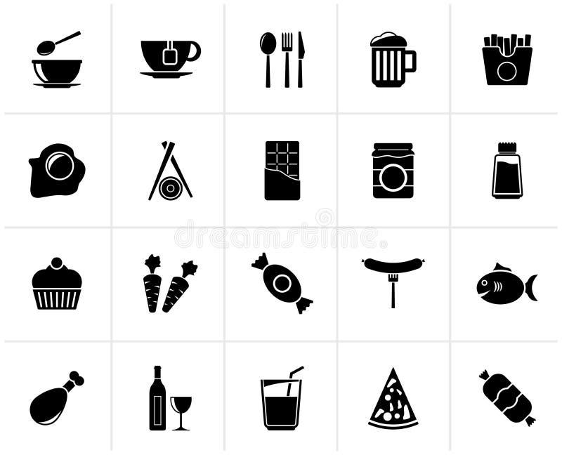 Re differente nero delle icone delle bevande e dell'alimento royalty illustrazione gratis