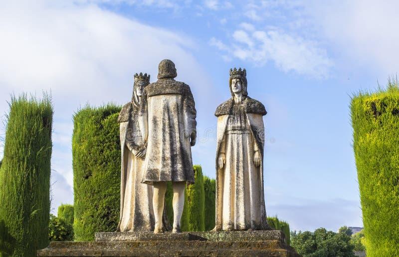 Re e Christopher Columbus della statua del paesaggio in alcazar immagine stock libera da diritti