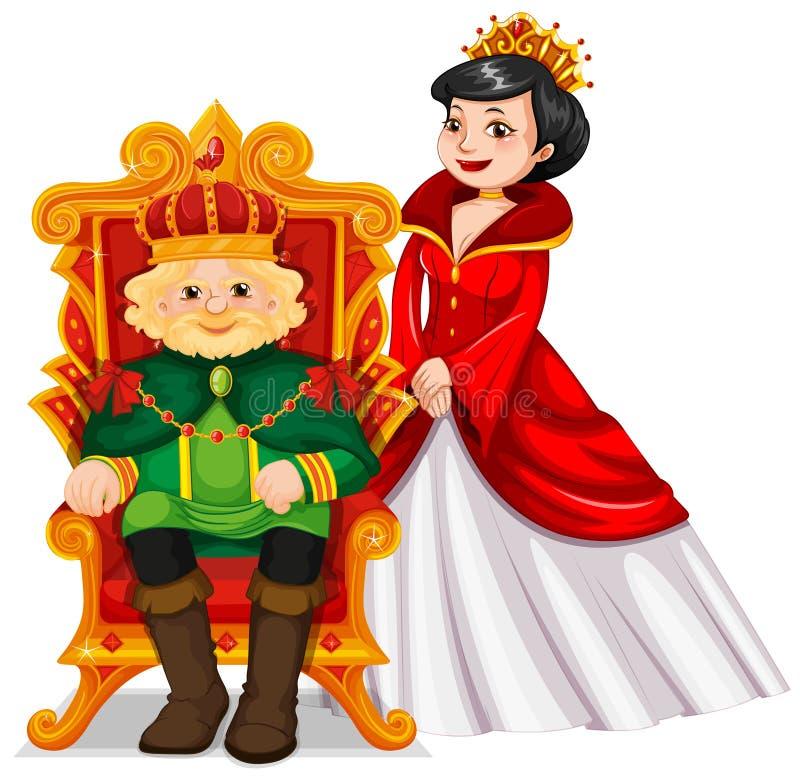 Re e regina al trono illustrazione di stock