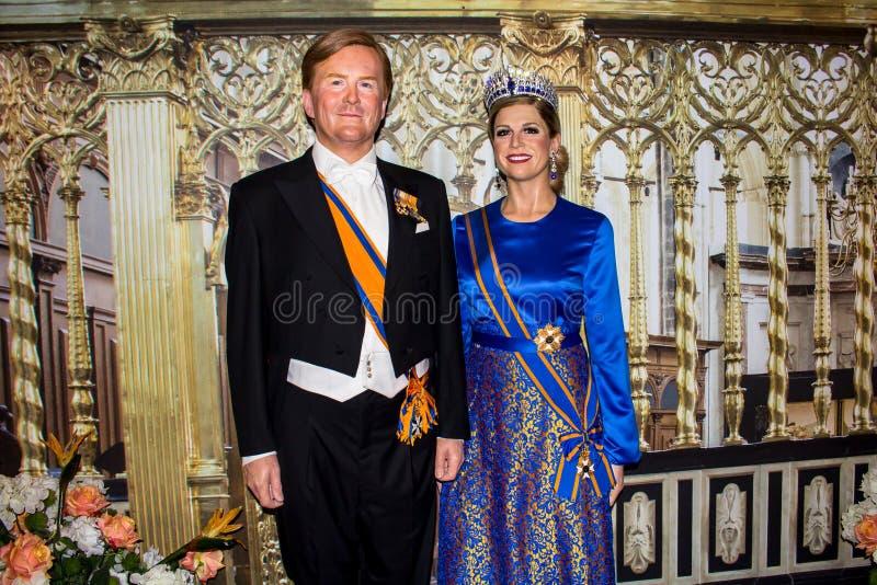 Re e regina dei Paesi Bassi, statue della cera, Amsterdam di signora Tussaud fotografia stock