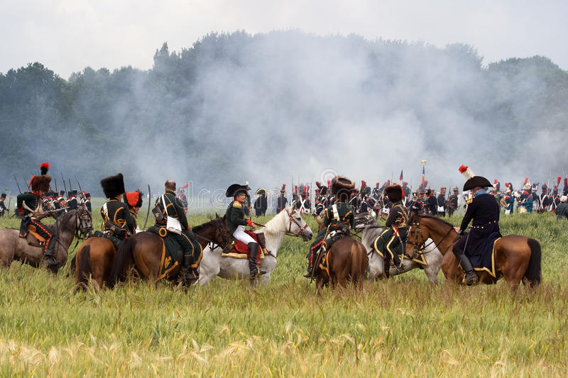 Re-enactment Battle of Waterloo, Belgium 2009 stock image