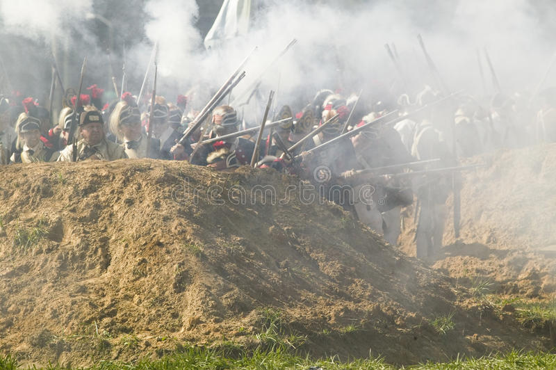Re-enactment do ataque nos Redoubts 9 & 10 fotos de stock