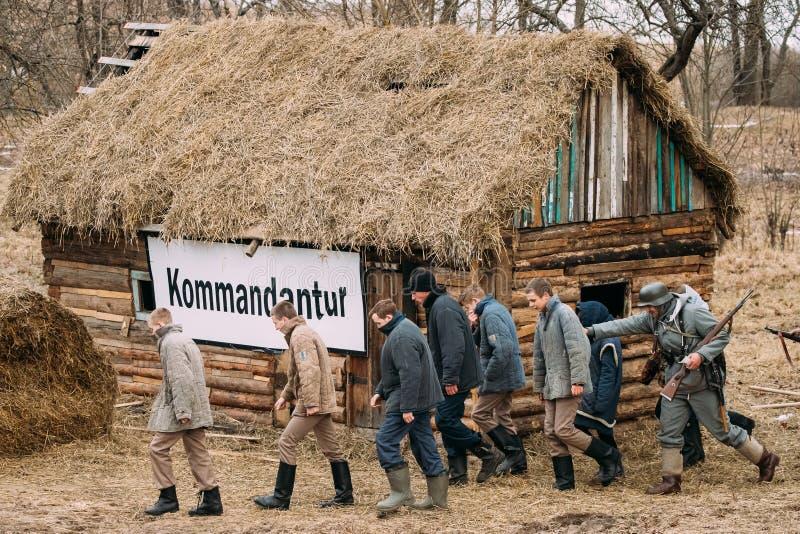 Re-enactor Dressed As German Wehrmacht Infantry Soldiers Of World War II. Rogachev, Belarus - February 25, 2017: Re-enactor Dressed As German Wehrmacht Infantry stock images