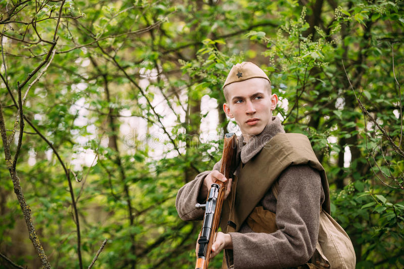 Re-enactor Dressed As Russian Soviet Infantry Red Army Soldier O royalty free stock images