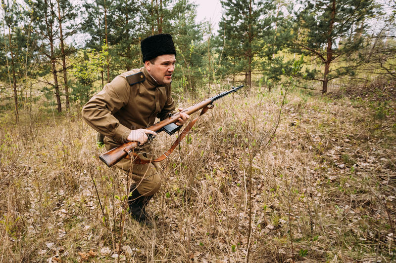 Re-enactor Dressed As Soviet Russian Red Army Infantry Soldier. Pribor, Belarus - April 24, 2016: Re-enactor Dressed As Soviet Russian Red Army Infantry Soldier royalty free stock photo