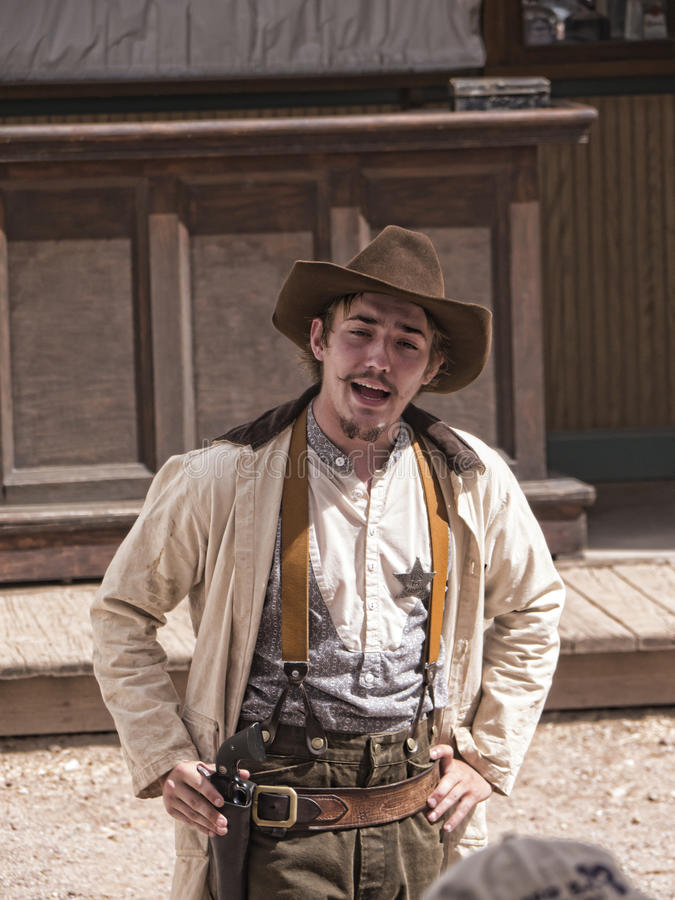 Re-enactor of the Gunfight at the OK Corral in Tombstone Arizona. Tombstone in Arizona where the Gunfight at the OK Corral was fought in the USA. It is called royalty free stock photos