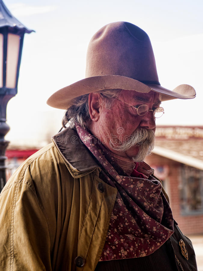 Re-enactor of the Gunfight at the OK Corral in Tombstone Arizona. Tombstone in Arizona where the Gunfight at the OK Corral was fought in the USA. It is called stock photos