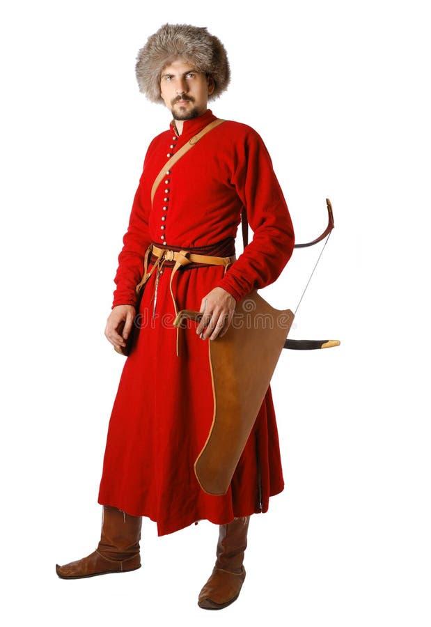 Re-Enactor in kostuum van tatar strijder. royalty-vrije stock afbeeldingen