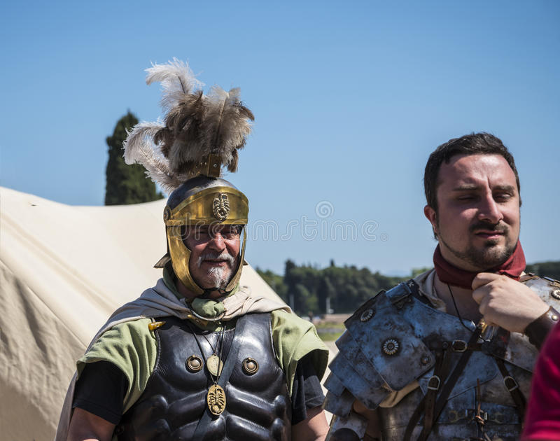 Re-enactors at the celebrations for the Birthday of the city of Rome. In Late April each year a celebration of the birthday day of the City of Rome Italy takes royalty free stock photo