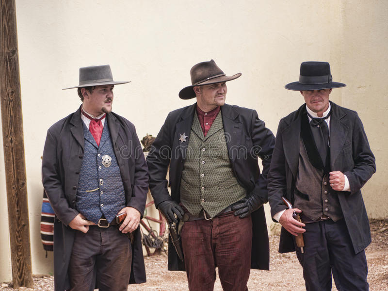 Re-enactors of the Gunfight at the OK Corral in Tombstone Arizona. Tombstone in Arizona where the Gunfight at the OK Corral was fought in the USA. It is called royalty free stock images