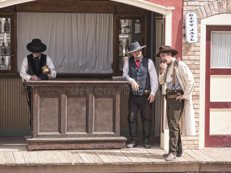 Re-enactors of the Gunfight at the OK Corral in Tombstone Arizona. Tombstone in Arizona where the Gunfight at the OK Corral was fought in the USA. It is called stock photos