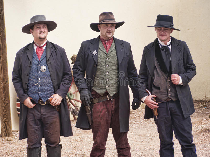 Re-enactors of the Gunfight at the OK Corral in Tombstone Arizona. Tombstone in Arizona where the Gunfight at the OK Corral was fought in the USA. It is called royalty free stock photos