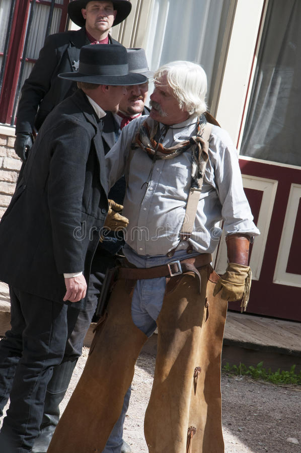 RE-enactors in Tombstone Arizona. Tombstone in Arizona where the Gunfight at the OK Corral was fought in the USA. It is called the Town too tough to die royalty free stock photography