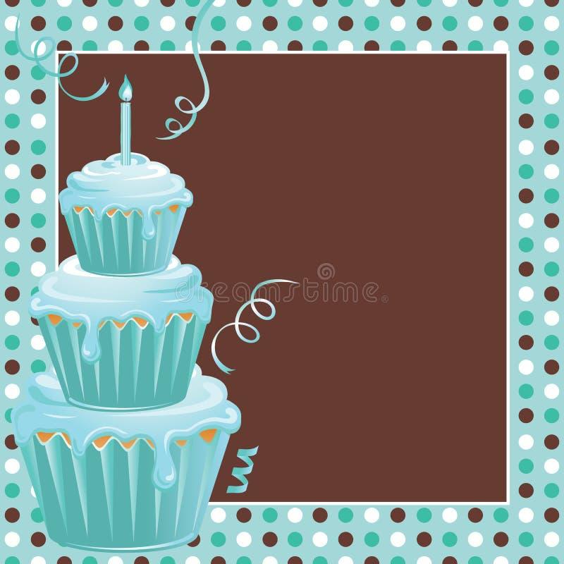 ??re fête d'anniversaire empilée de gâteaux avec des polkadots illustration de vecteur