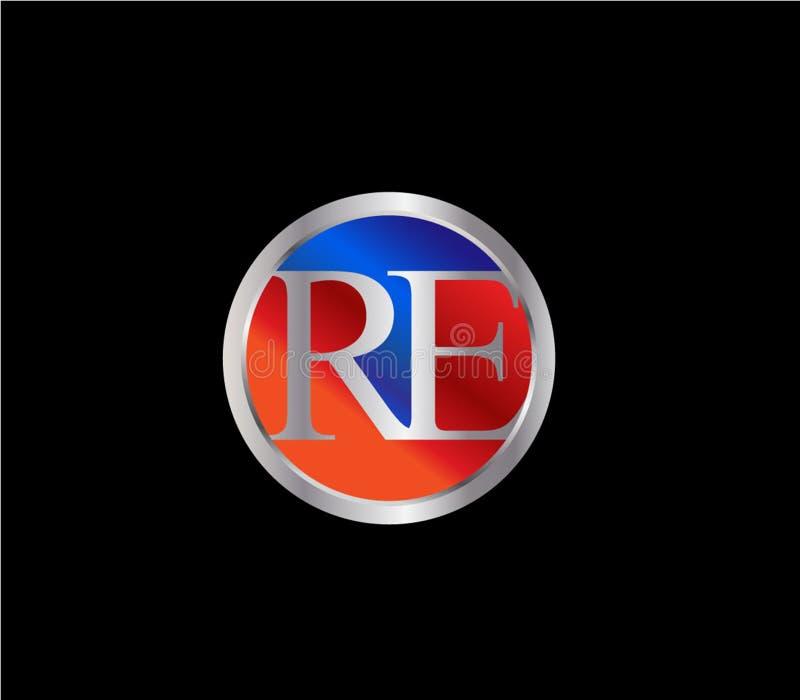RE forma inicial Logo Design posterior color plata azul rojo del círculo stock de ilustración