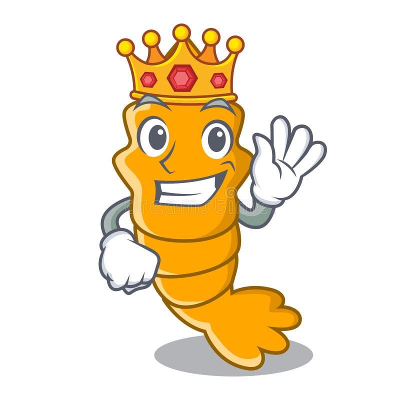 Re ha cotto a vapore il gamberetto crudo fresco sul fumetto della mascotte illustrazione di stock