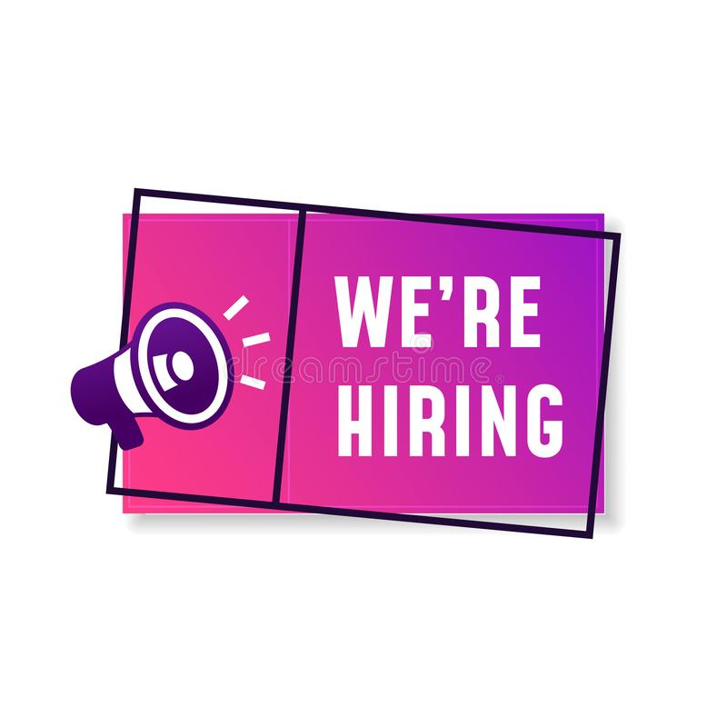 We`re hiring job vacancy creative poster background design with megaphone loudspeaker vector icon illustration. Eps 10 stock illustration