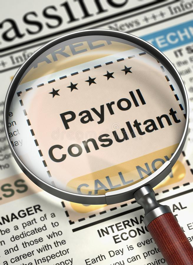 We`re Hiring Payroll Consultant. 3D. stock image