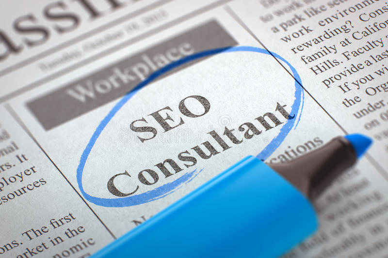 We're Hiring SEO Consultant. 3D. Newspaper with Small Ads of Job Search SEO Consultant. Blurred Image. Selective focus. Concept of Recruitment. 3D Render royalty free stock photos