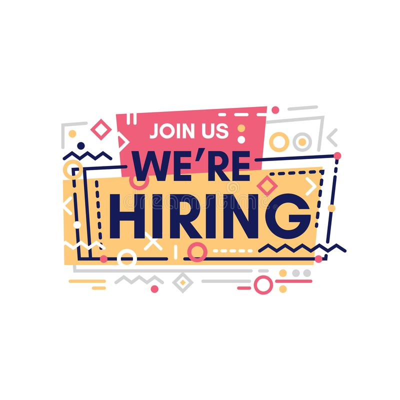 We`re hiring typographic design with yellow elements. We`re hiring typographic design. We are Hiring Poster or Banner Design with memphis design style vector illustration