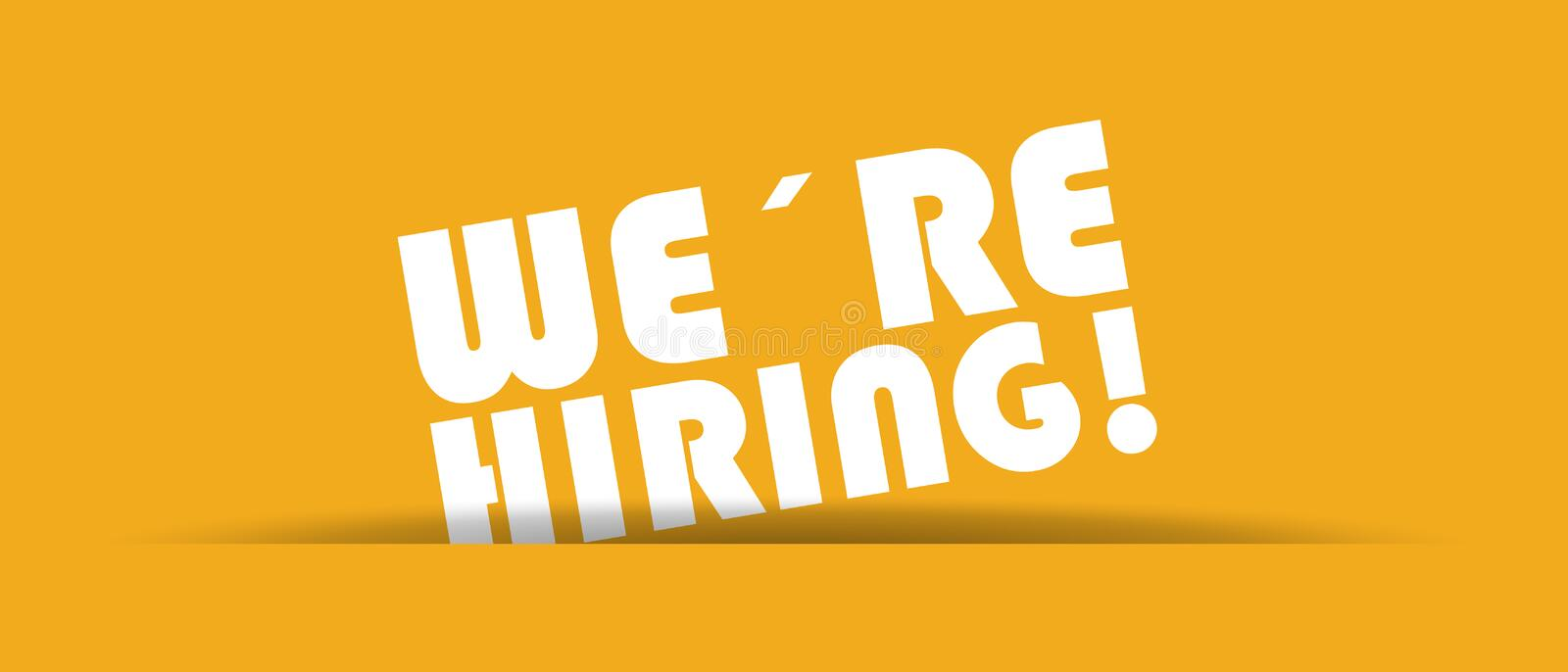 We´re Hiring - Vector Illustration With Shadow On Yellow royalty free illustration