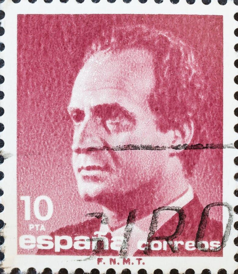 Re Juan Carlos I della Spagna nel bollo fotografie stock libere da diritti