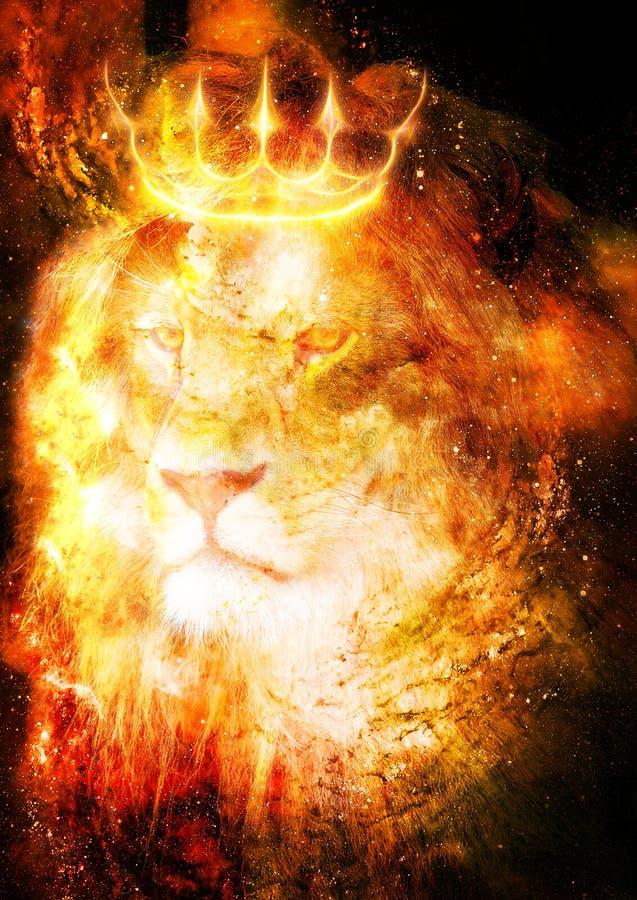 Re leone nello spazio cosmico Leone su fondo cosmico illustrazione vettoriale