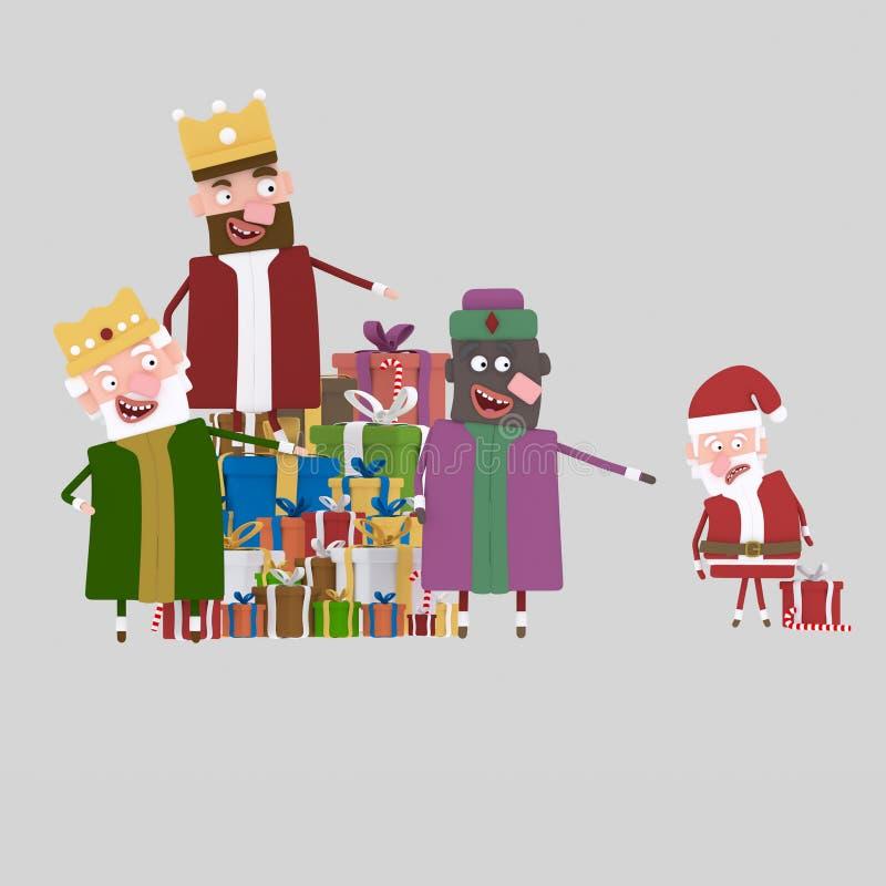 Re magici contro Santa 3d illustrazione vettoriale