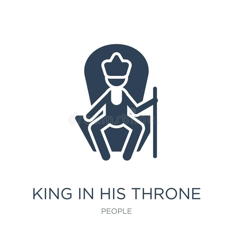 re nella sua icona del trono nello stile d'avanguardia di progettazione re nella sua icona del trono isolata su fondo bianco re n illustrazione vettoriale