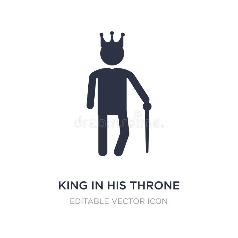 re nella sua icona del trono su fondo bianco Illustrazione semplice dell'elemento dal concetto della gente illustrazione vettoriale