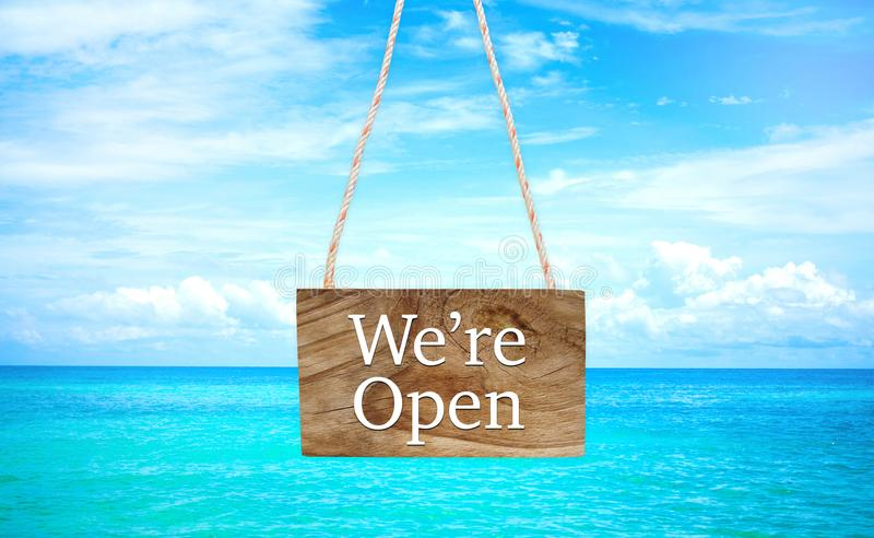 We`re open on hanging wood banner royalty free stock images